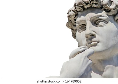 Detail close-up of Michelangelo's David statue isolated on white background, with place for your design or text