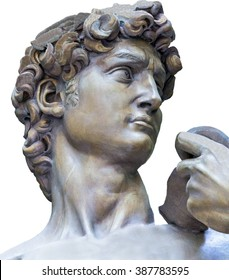 Detail closeup of Michelangelo's David statue on white background