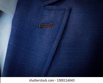 Detail closeup close-up of suit jacket