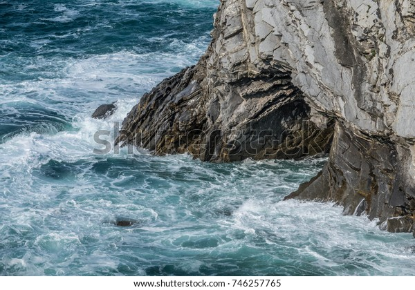 Detail of the coast cliffs in Bizkaia, Basque Country