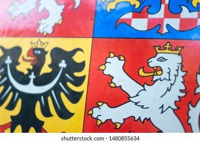 Detail of Coat of Arms of Czech Republic and Czechia - macro of national symbol. Very low depth of field