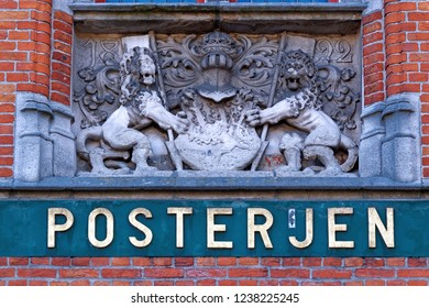 Detail of the Coat of arms of the main post office in Bruges Market Square ( Markt Square ), Bruges, Belgium