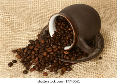 detail of coffee beans in cup