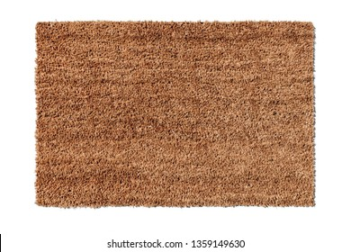 Detail of a coir door mat on a white background