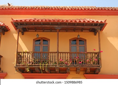 Detail of a colonial house. Typical balcony. Spanish colonial home. Cartagena de Indias, Colombia.In 1984, Cartagena's colonial walled city and fortress were designated a UNESCO World Heritage Site.
