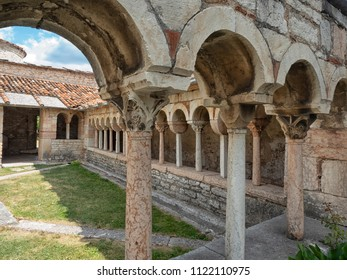 Detail of the colonnade of the cloister, dating back to the Christian period of the Pieve di San Giorgio di Valpolicella municipality of Sant'Ambrogio di Valpolicella, in the province of Verona. italy