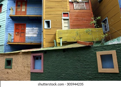 Detail of colorful Caminito architecture in the La Boca neighborhood of Buenos Aires, Argentina