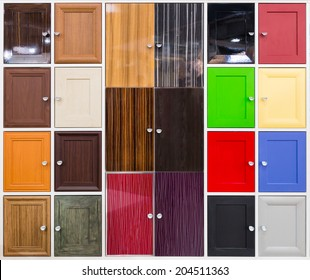 Detail of colorful doors with nice handles