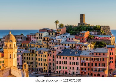 Detail of the colorful historical center of Vernazza at sunset, Cinque Terre, Liguria, Italy