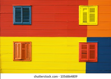Detail of a colorful house facade in La Boca, Buenos Aires