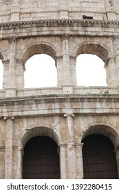 Detail of Colosseum also called Coliseum or Colosseo in Italian Language in Rome Italy