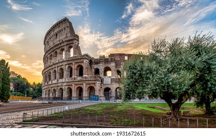 Detail of Colosseum in Rome (Roma), Italy. Also named Coliseum, this is the most famous Italian sightseeing. Spectacular blue sky in background.