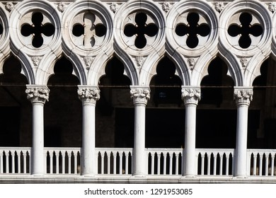 Detail of columns and arches of Loggia Foscara (Palazzo Ducale, Venice - Italy)