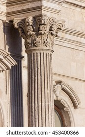 Detail of columns and capitals in an ancient Sicilian baroque church
