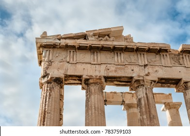 Detail of columns and frieze of the Parthenon at Acropolis in Athens, Greece