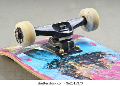detail of a complete skateboard