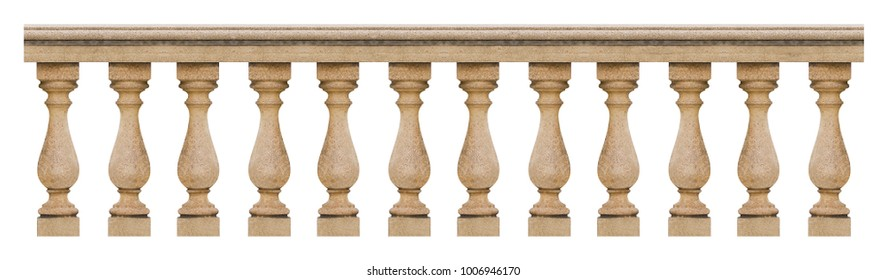 Detail of a concrete italian balustrade - seamless pattern concept image on white backgroud for easy selection