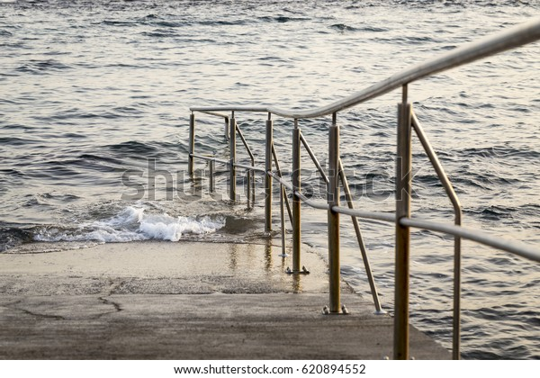 Detail Concrete Ramp Handrail That Leads Stock Photo (Edit