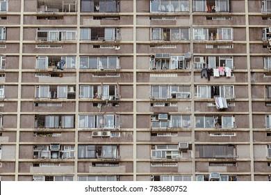 detail of condominium in hongkong, old film look effect