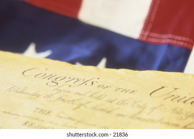Detail of constitution and flag