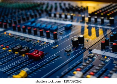 Detail of the controls of an Audio Mixing Console