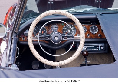detail of convertible sports car cockpit