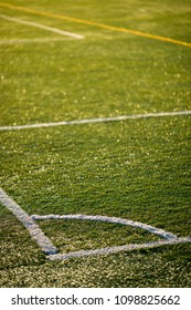Detail of the corner of an artificial turf. Photo with low depth of field.