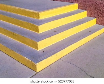 Detail of a corner of steps with a yellow border
