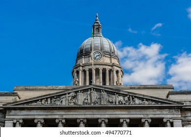 Detail of Council House - city hall and major landmark of Nottingham. Old Market Square, Nottingham, England, UK.