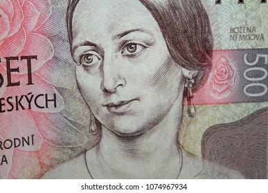 Detail of czech crowns five hundred banknote with Bozena Nemcova, famous czech writer portrait.