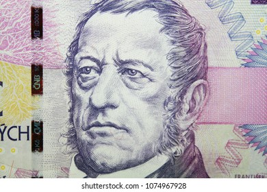 Detail of czech crowns one thousand banknote with Frantisek Palacky portrait