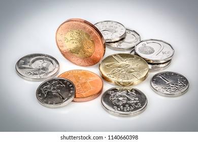 Detail of Czech Republic curency. Czech crown coins.