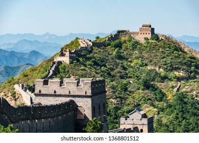Detail of a damaged part of the Great Wall of China between Jinshanling and Simatai.