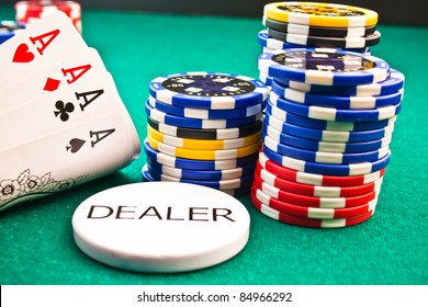 Detail of dealer  chips poker poker aces