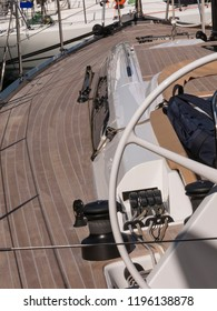 detail of the deck of a sailing boat