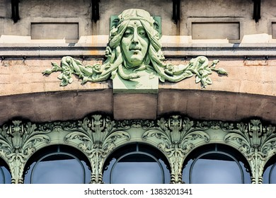 Detail of the decor in the Art Nouveau style on the building of the Russian-Chinese Bank (Comedy Theater) it is a Russian commercial bank operating from 1896–10. Saint-Petersburg, Russia