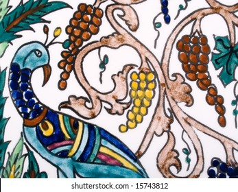 Detail of decorative Armenian tile from Palestinian pottery, Jerusalem
