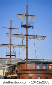 Detail of a decorative pirate boat in Skopje
