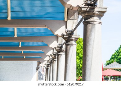 Detail, a decorative wooden pavilion roof in the town of Zierikzee in Holland.