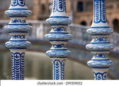 Detail of the Delft Blue bridges in the Plaza Espana of Seville, Spain