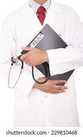 Detail of a doctor holding a clipboard