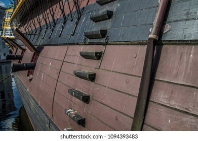 Detail Of The Doen VOC Ship At The Scheepvaartmuseum Amsterdam The Netherlands 2018