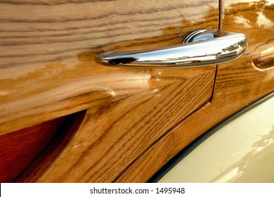 detail of door handle on retro woodie station wagon car