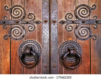 Detail of the door of the Lisbon Cathedral in Lisbon, Portugal