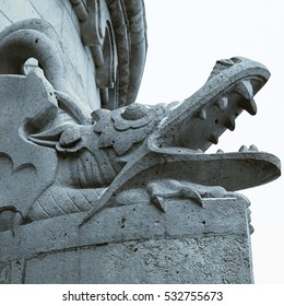 detail of dragon statue from Fisher Bastion, Budapest, Hungary. Square monochrome toned image