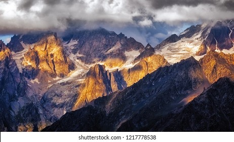Detail of dramatic mountain range with colorful sunlight, Svaneti, Country of Georgia