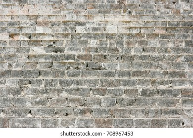 Detail of a dry stone wall at Chichen Itza, Yucatan, Mexico