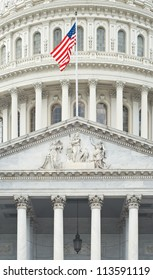 Detail of East Portico of United States Capitol in Washington
