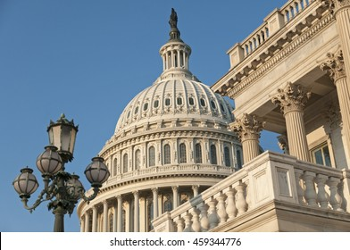 A detail of the eastern facade of the US Capitol Building, shortly after dawn.