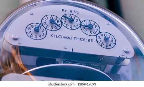 Detail of Electric meter on side of building
